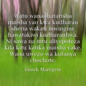 Nukuu za Enock Maregesi Mtandaoni
